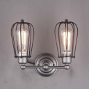 Satin Nickel 2 Light Double LED Wall Sconce with Metal Cage