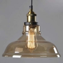 Stylish Amber Glass Warehouse Shade 1 Light Small Foyer LED Pendant Lamp