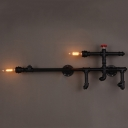 Black Pipe Gun Shape 2 Light Double LED Wall Light