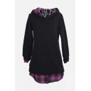Women's Plus Size Plaid False Two Mid-Long Hoodies Pullover