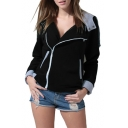 Women's Oblique Zipper Slim Fit Hoodie Jacket