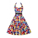 New Arrival Women's Colorful Polka Dot Print Halter Dress