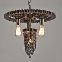Vintage Industrial Four Light Indoor LED Pendant Lighting with Hanging Chain Design