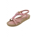 Women's Bohemia Beaded Floral Sandals Slip On Beach Shoes