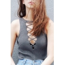 Women's Sexy Lace Up V-neck Sleeveless Knitted Top