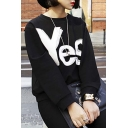 Fashion Unisex YES/NO Sweatshirt Fall Spring Letter Print Pullover Sweatshirt