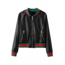 New Style Fashion Contrast Trim Tiger Embroidered Back Baseball Jacket