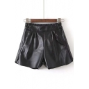 2016 Autumn Fashion PU Shorts with Elastic Waist
