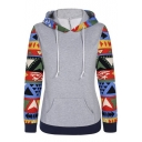 Women's Geo Printed Long Sleeve Hooded Pullover Hoodies Sweatshirt