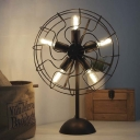 Vintage Black Wrought Iron 5 Light Fan Shaped LED Table Lamp Accent Lamp