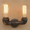 Old Bronze 2 Light Wall Sconce Industrial Pipe Wall Lamp for Hallway Foyer Warehouse
