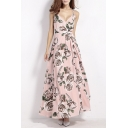 New Sexy Cross Back Wrap Front Floral Print Maxi Dress