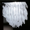 Designer Twist Glass Close To Ceiling Light White