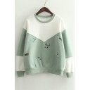 Fashionable Color Block Embroidered Deer Long Sleeve Pullover Sweatshirt