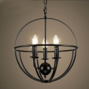 16'' Wide Wrought Iron Black Globe LED Chandelier with 3 Light