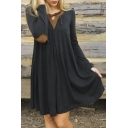 Women's Casual Tie V-neck Patchwork Elbow Long Sleeve Swing Dress