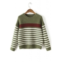 2016 Autumn Fashion Striped Round Neck Pullover Sweater
