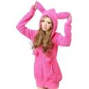 Women Cosplay Bunny Rabbit Ear Shirt Tops Hoodie Warm Fleece Coat