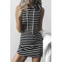 Casual Black/White Striped Sleeveless Hooded Dress