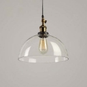 Single Light Semicircle Suspended Light Industrial Modern Clear Glass Pendant Light in Antique Brass