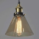 Seven Inches Wide Industrial Style Single Light Amber Glass LED Pendant Lamp