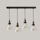 Clear Cone Glass Shade Four Light LED Pendant in Industrial Style