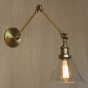 7'' Wide Single Light Industrial Adjustable LED Wall Lighting in Gold Finish