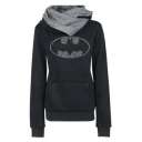 Women's Fashion Scarf Neck Batman Tops Hoodies Tees Sweatshirt