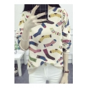 Women's Fashion Colorful Socks Print Round Neck Long Sleeve Pullover Sweatshirt