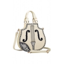 New Arrival Fashion Violin Design Embroidered Detail Crossbody Bag Tote Shoulder Bag