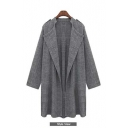 New Arrival Fashion Plus Size Open Front Lapel Long Coat