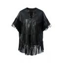 2016 New Fashion Tassel Detail Lace up V-neck PU Coat
