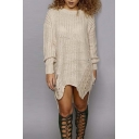 New Arrival Fashionable Round Neck Long Sleeve Dip Hem Sweater Dress