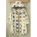 Fashion Cartoon Owl Print Drawstring Hooded Linen Coat