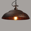 Vintage Copper/White Finished Bowl Shaped Industrial Style Single Light LED Pendant Indoor Lighting Fixture