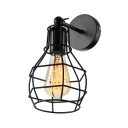 Wire Cage 1 Light Mini Wall Sconce in Black for Stairs Hallway Porch
