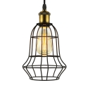 Industrial Style 1 Light Mini Cage LED Pendant in Black