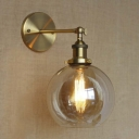 Stylish Amber Glass Single Light LED Mini Wall Sconce