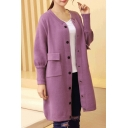 New Arrival Puff Sleeve Button Front Midi Cardigan Sweater with Pocket