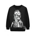 Women's Skull Painting Thin Sweater Sweatshirt Good Quality