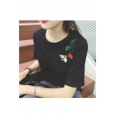 Fashion Bee Cherry Embroidered Short Sleeve Round Neck T-shirt