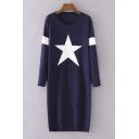 2016 Autumn Star Pattern Round Neck Long Sleeve Longline Sweater Dress