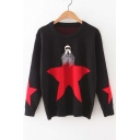 2016 Fall Winter Fashion Star Pattern Long Sleeve Round Neck Sweater