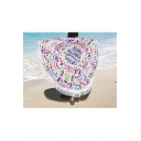 Fashion Summer Letter Print Beach Towel Blanket Shawl with Tassel Circle