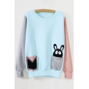 2016 New Color Block Rabbit in Pocket Sweatshirt
