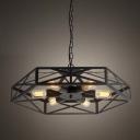 Matte Black 6 Light Geometry Style 24'' Wide LED Hanging Foyer Pendant