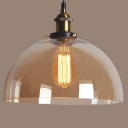Semicircle Pendant Light with Amber Glass Shade Simple Concise Single Light Hanging Lamp for Kitchen