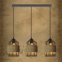 Industrial Style Three Light Cage Shade LED Multi Light Pendant with Rope Accents