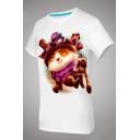 Unisex Fashion Cartoon Print Short Sleeve Round Neck Cotton T-shirt