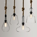 Clear Glass LED Mini Pendant Light Restaurant Lighting Fixture with Rope Accent